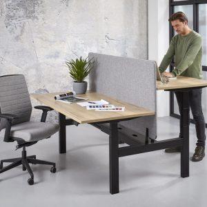 duo zit sta bureau frame zwart blad halifax met optioneel scherm
