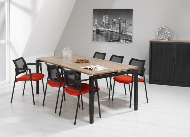 Qbic vergadertafel 200x100cm zwart frame