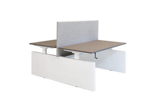 Duo bureau Panel met wit zijpanelen en eiken blad