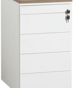 Ladeblok van 74 cm hoog met indeling; 1 x materiaal, lade, 4 lade kleur wit Bureaustoelen MKB
