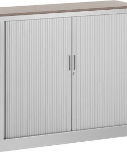 Roldeurkast 105 cm hoog met bovenblad en twee legborden | kleur alu | Bureaustoelen MKB