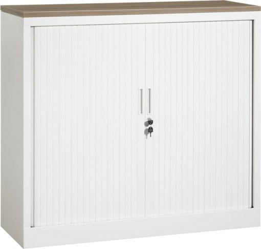 Roldeurkast 105 cm hoog met bovenblad en twee legborden | kleur wit | Bureaustoelen MKB