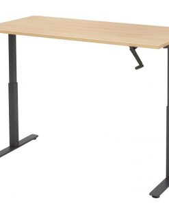 zit-sta bureau SL met zwart frame en licht eiken blad.