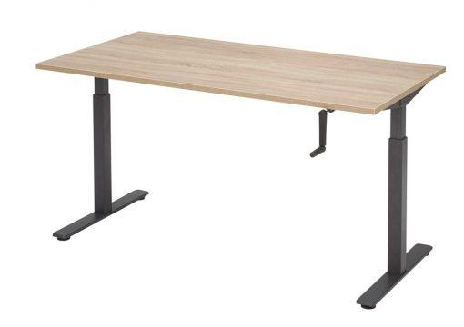 zit-sta bureau SL met zwart frame en eiken blad.